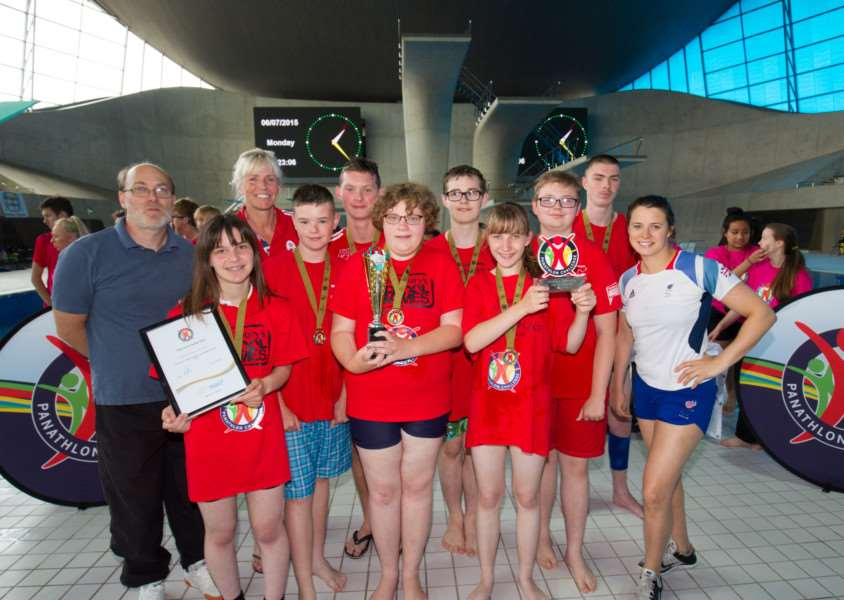 DAY TO REMEMBER: Priory School students collected their trophy and medals from Paralympic swimming champion, Liz Johnson