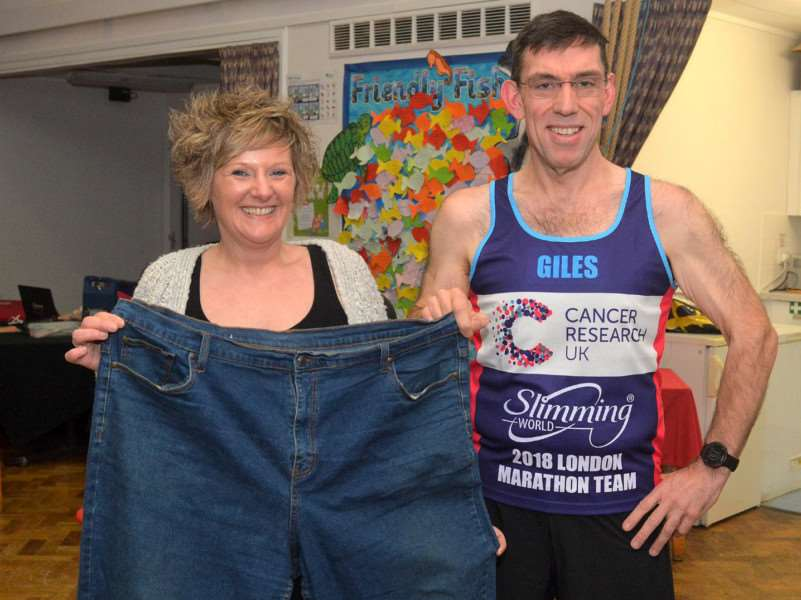 Giles Macrow pictured with Slimming World group leader Sarah Allan