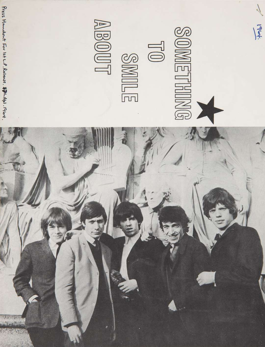 A press handout, 'Something to Smile About', from April 1964 with Rolling Stones founders Brian Jones, Charlie Watts, Keith Richards, Bill Wyman and Mick Jagger