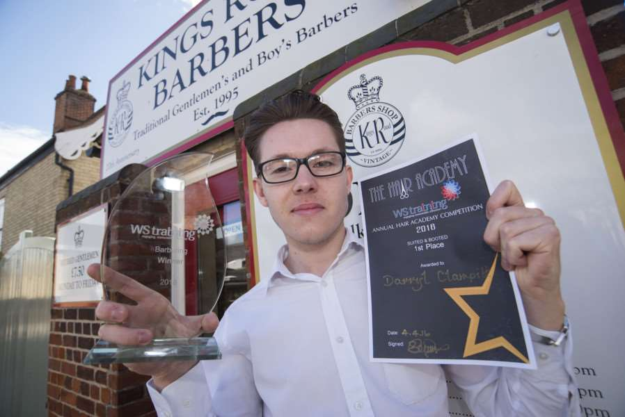 Barber Darryl Clampitt has won an apprenticeship award with his college , he works at Kings Road Barbers in Bury St Edmunds'Picture Mark Westley ANL-160604-165336009