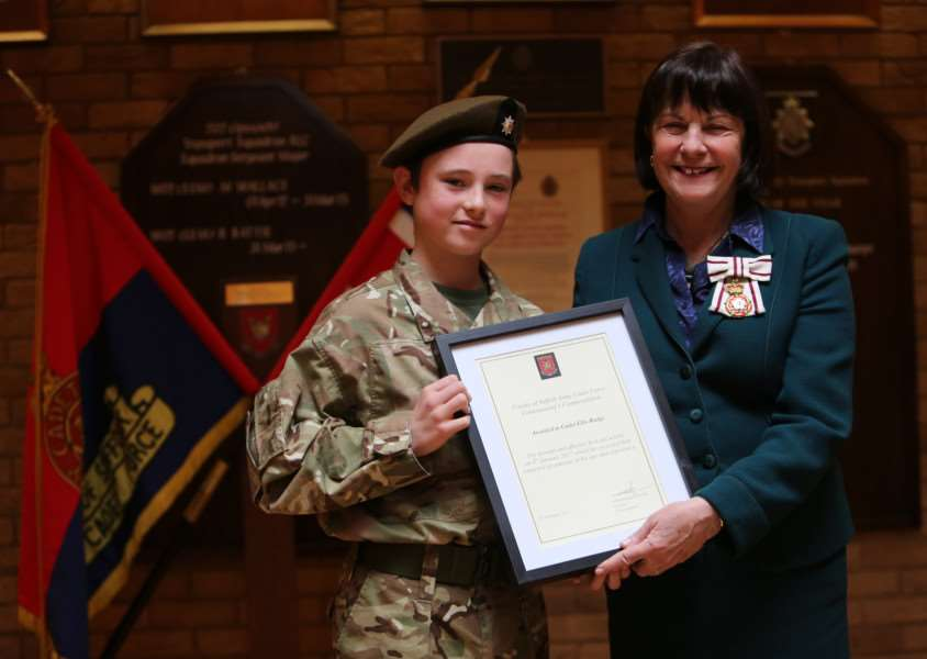 Lord Lieutenant for Suffolk, Lady Euston presents Ellis Rudge, of Haverhill, with a Commandant Suffolk Army Cadet Force Commendation (photo by Sgt John Tillotson)