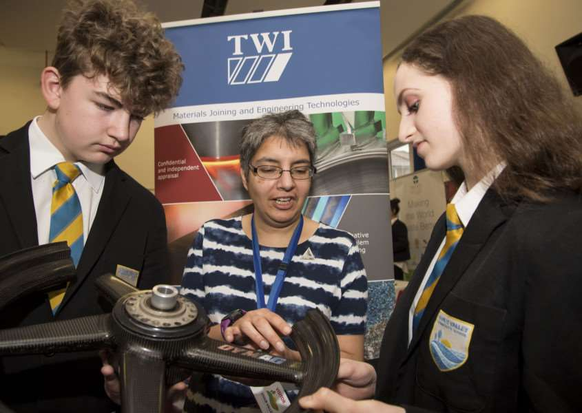 Stour Valley Community School, Cavendish Rd, Clare, Sudbury'School STEM fair (science fair)'James McGregor and Phobe Butler with Joanna Nicholas from TWI'Picture Mark Westley