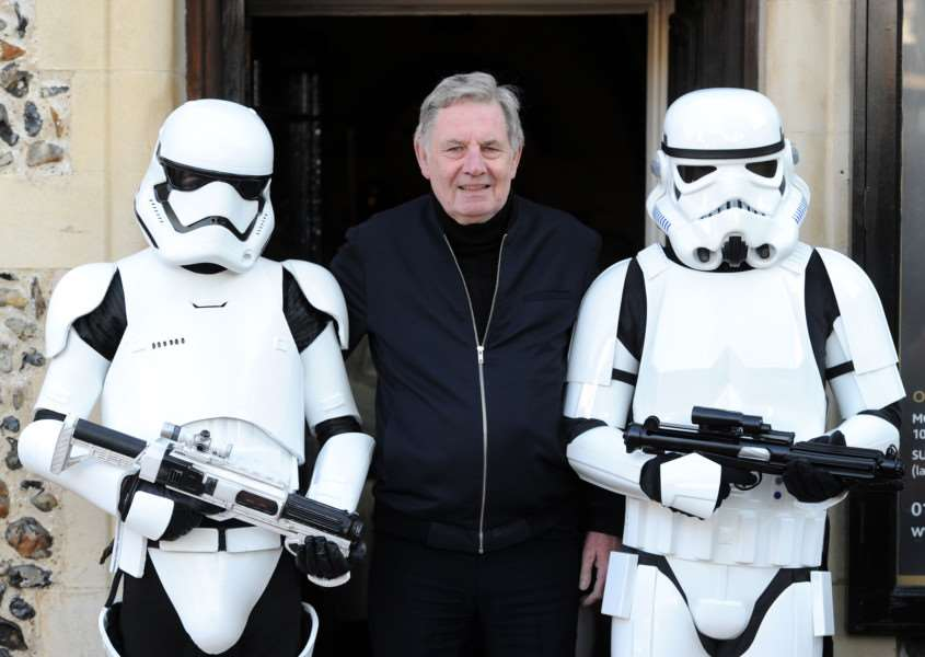 Chris Bunn - the original Stormtrooper - with Stormtroopers at Moyse's Hall ANL-161022-130624009