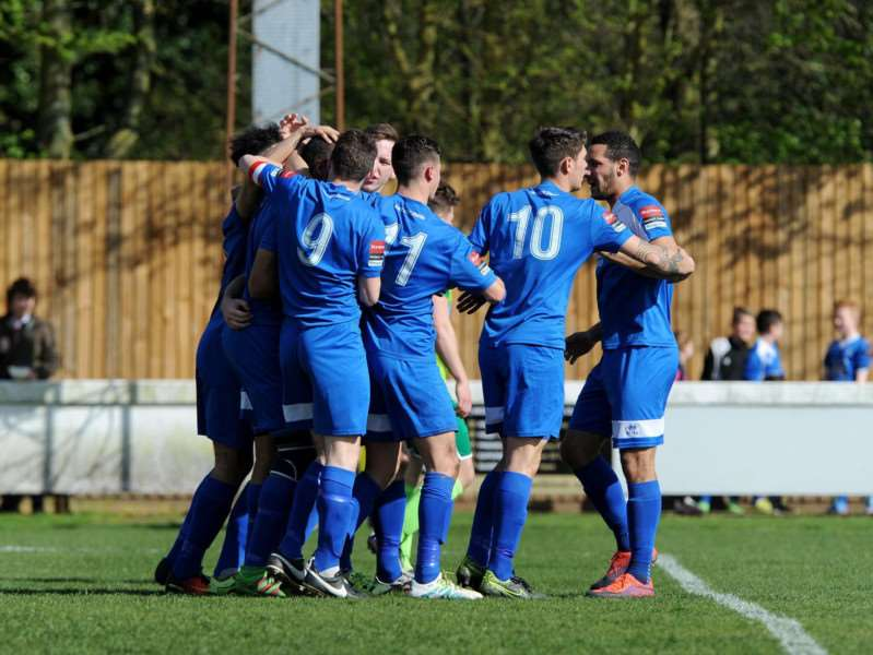 TEAM SPIRIT: Bury Town FC celebrate after new signing Leon Ottley-Gooch scores