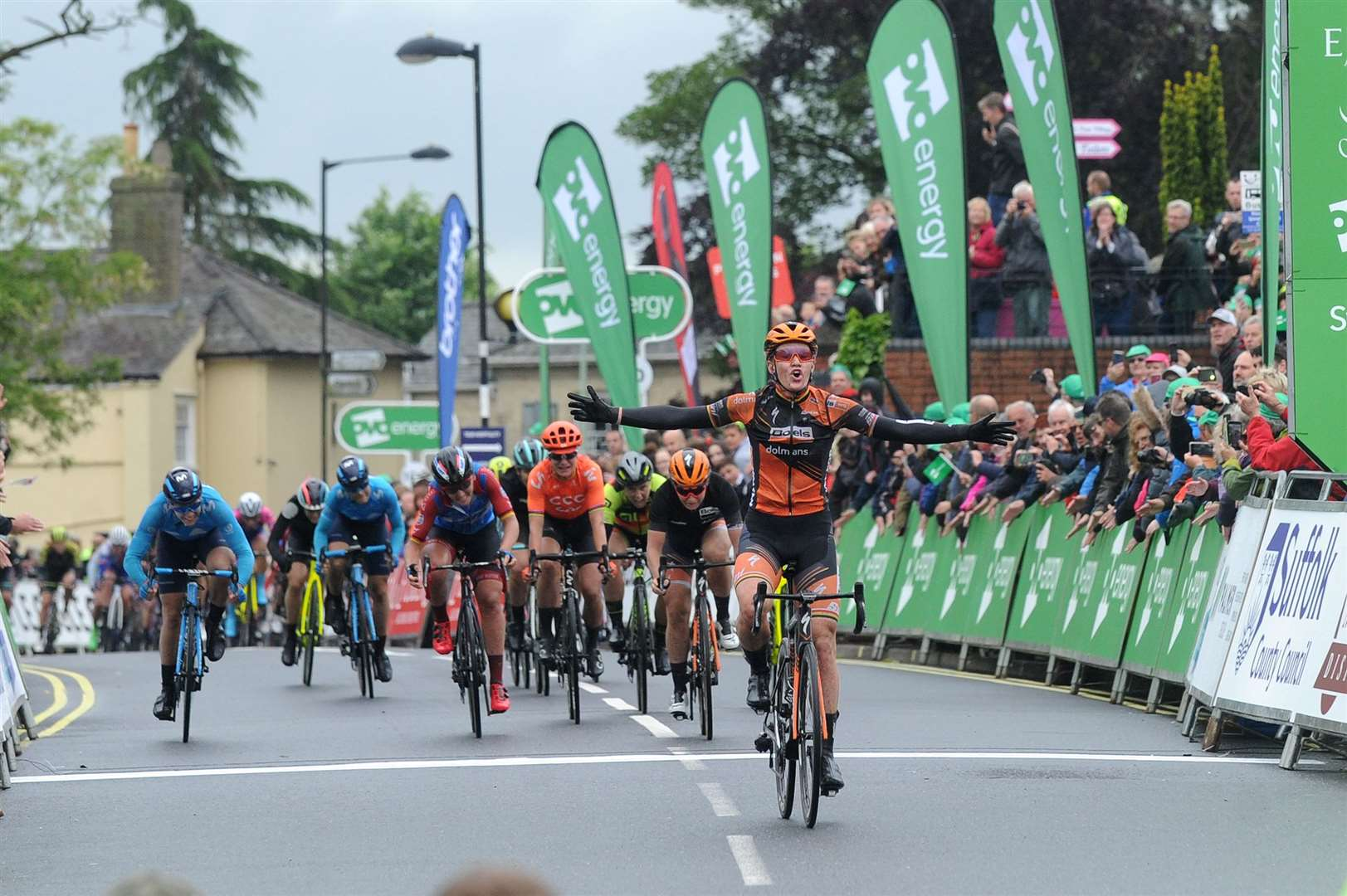 The OVO Energy Women's Tour finishes in Stowmarket..Pictured: Jolien D'hoore takes the first green jersey of this years race as she wins the opening stage in Stowmarket ...PICTURE: Mecha Morton... (34283061)