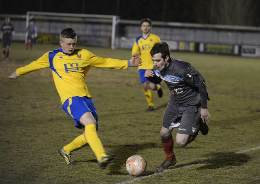 Ryan Weaver in action for Haverhill Borough against AFC Sudbury Reserves. Pic by Mark Westley