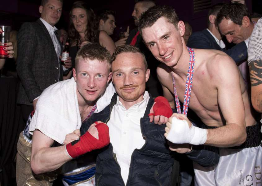 White Collar Boxing Night Innocence ight Club in Newmarket'William Carson with fellow jockey Simon Pearce and Freddy Tylicki'Picture Mark Westley