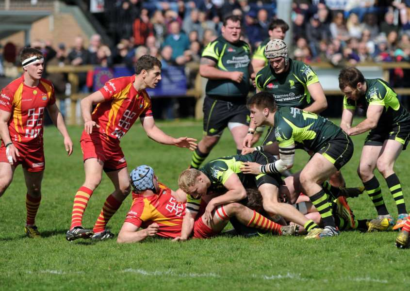 GETTING STUCK IN: Bury players including Chris Snelling (centre) ruck over in attempt to claim possession during Saturday's memorable 43-38 victory over visiting Cambridge in the final home game of the current campaign
