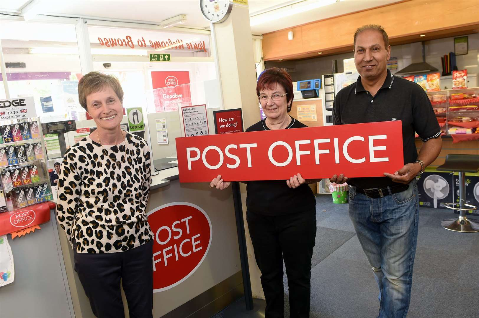 The post office in Glemsford has been reinstated in the village at Hunts Hill stores, after the previous facility was permanently closed for a year.Pictured: Susan Pash (Post Office Clerk), Carole Mitchell (Previous shop owner) and Paul Sanghera (Current Shop owner)PICTURE: Mecha Morton (16297867)