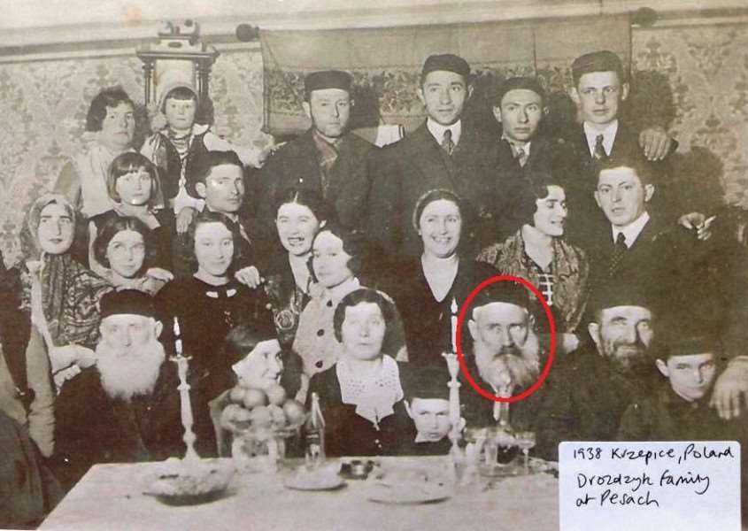 Joy Walker's great grandfather, circled, pictured on a visit to his family in Poland in 1938. He returned to the UK and was the only one to escape death in the camps.
