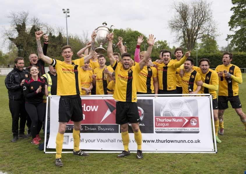 ALL CHANGE: Mildenhall celebrate winning the Thurlow Nunn League Premier Division, which will go up to 24 teams next season