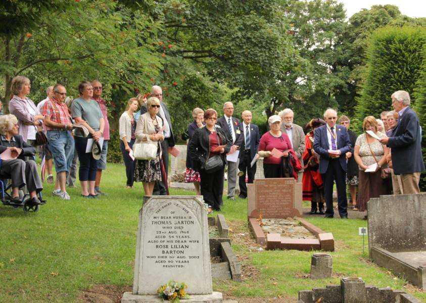 Participants taking part in the Haverhill Cemetery guided walk. Picture: Charmian Thompson ANL-150818-102911001