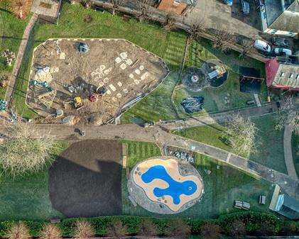 The latest shot of the Newmarket memorial hall gardens play area showing the new water feature
