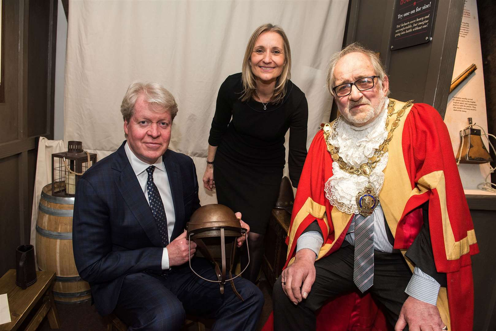 Earl Charles Spencer with Manager Tracey Harding and Ely Mayor Mike Rouse at the opening of the Oliver Cromwell Museum in Ely after it's refurbishment. Picture Mark Westley. (8088469)
