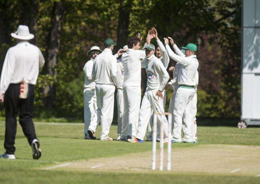 TOUGH TASK: Burwell celebrate one of Tyron Koen's five wickets in their loss to Sudbury