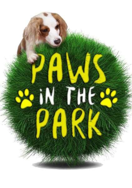 The Paws in the Park logo with Lenny