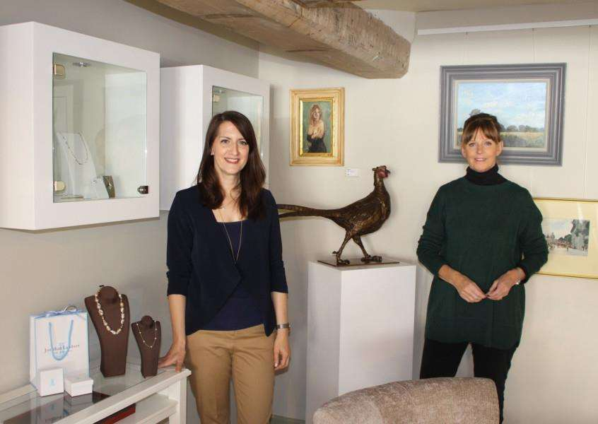 Yasmin Lambert and Kate Denton at the newly opened joint venture in Lavenham High Street. Jonathan Lambert Bespoke Jewellers and Kate Denton Fine Art have opened their business at the former home of the Wildlife Gallery