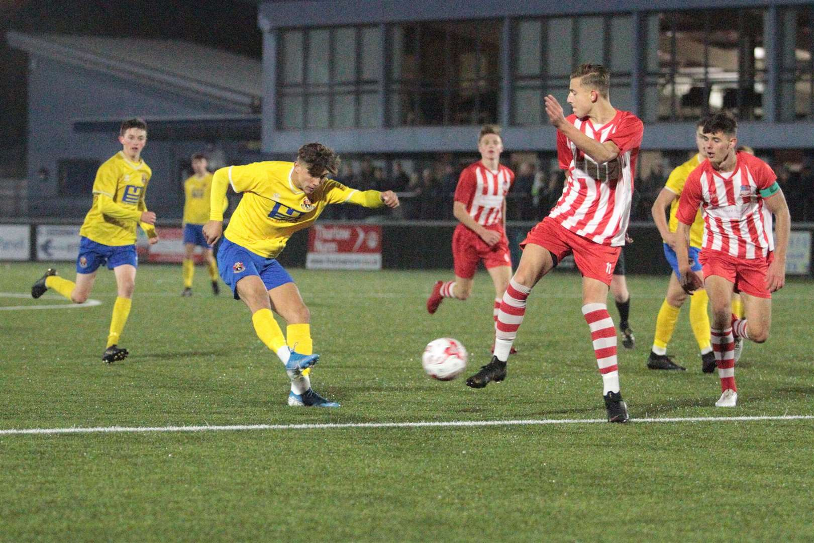 AFC Sudbury U18s v Bowers & Pitsea - Shane Temple fires in a shot in the FA Youth Cup Picture: Clive Pearson (20479685)