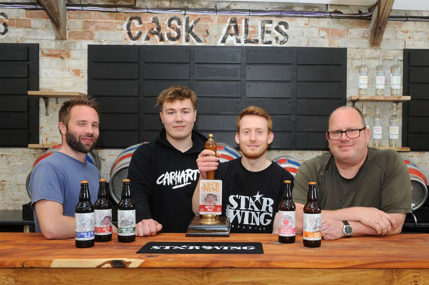 Star Wing Brewery is opening its very own on-site Tap Room..Pictured: Adam Chandler, Alfie Brydon, David Upton and Mark Duxon...PICTURE: Mecha Morton.... (42170053)