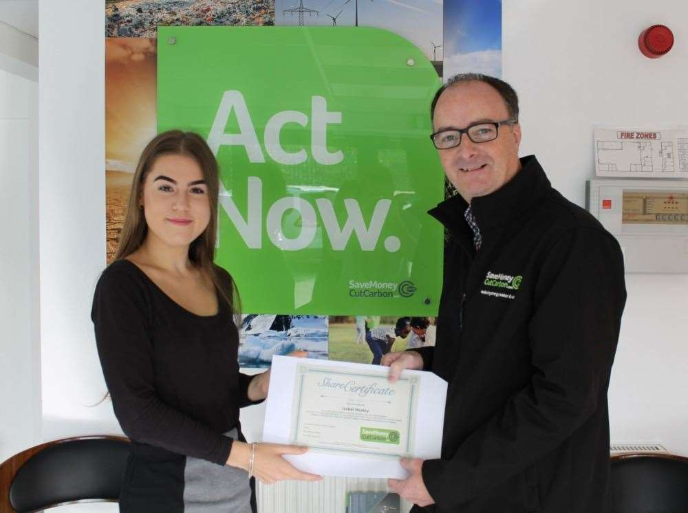 Isobel Healey with Mark Sait, CEO of Save Money Cut Carbon (20320544)