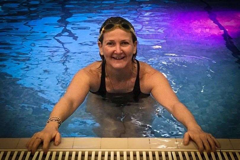 Kirstie swam 38 miles in a month while still recovering from cancer