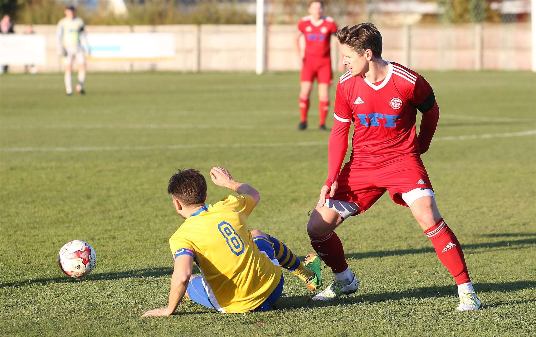 Haverhill Rovers v Newmarket Town - Newmarkets Jack Watson and Haverhills Josh Simpson..Pic - Richard Marsham. (5187137)