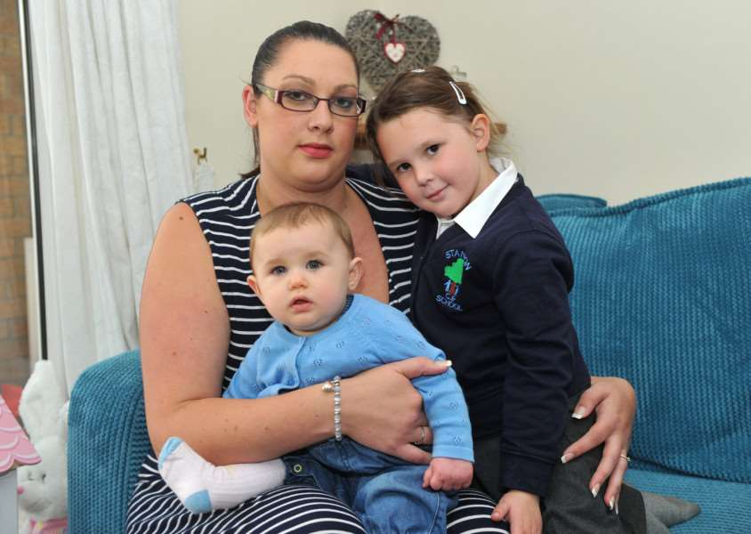 Natalie Vaughan and her family have been kept awake at night by roadworks on the A143''Pictured: Natalie with children Caitlin (8 months) and Imogen (4) ANL-151019-200057009