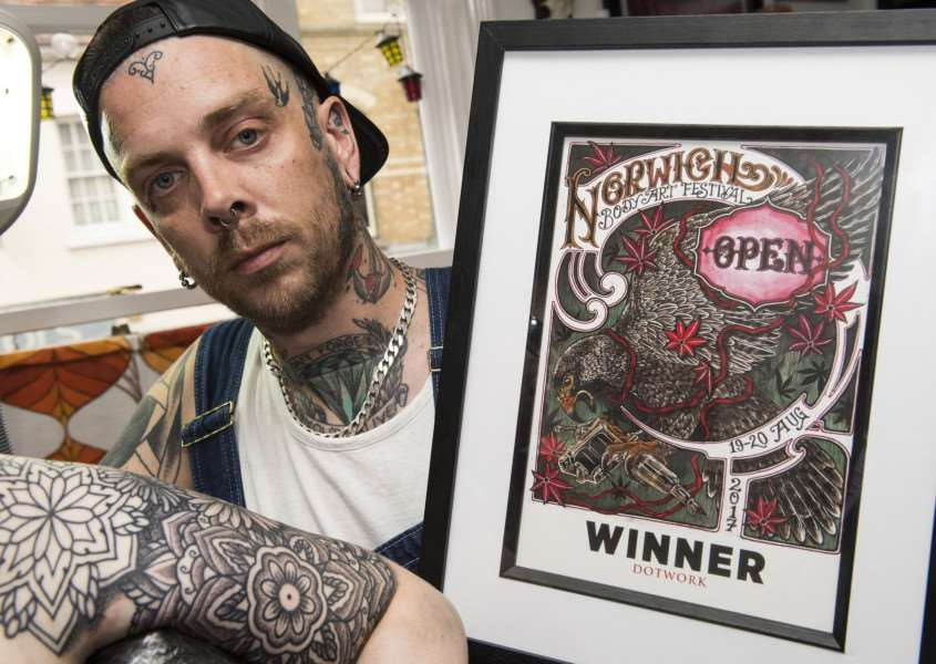 Darren Ditton has launched Love and Light Tattoos in Sudbury and recently won an award at the Norwich Body Art Festival.'Picture Mark Westley