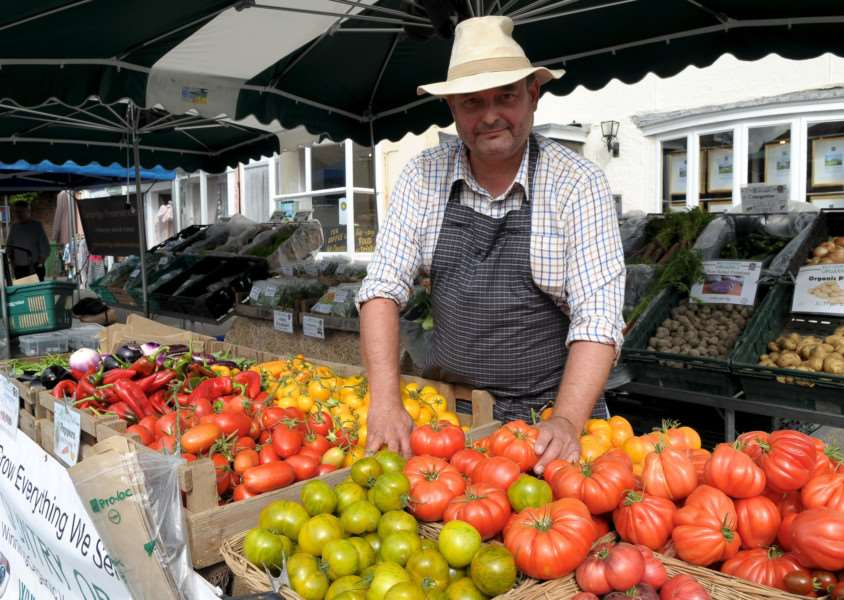 Clare, Suffolk. Clare's monthly market returns after an absence of 20 years. Pictured is Peter Gwyther of Wild Country Organics.''Picture: MARK BULLIMORE