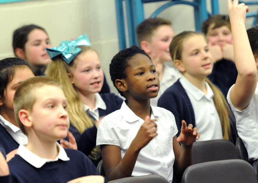 Wood Ley Primary School, in Stowmarket, were taking part in the 'sign2sing' event