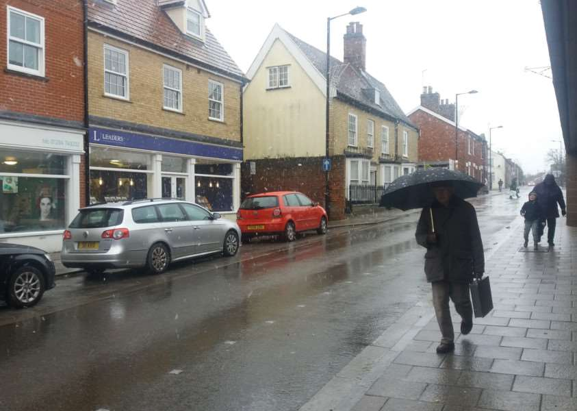 Snow falling in Bury St Edmunds today