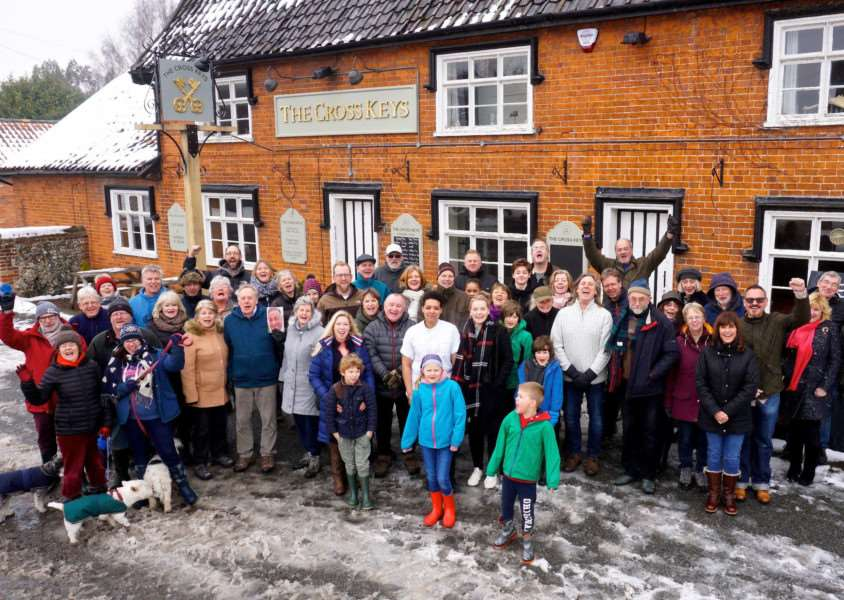 Villagers celebrate the re-opening of the Cross Keys pub in Redgrave Picture: Mark Bullimore Photography