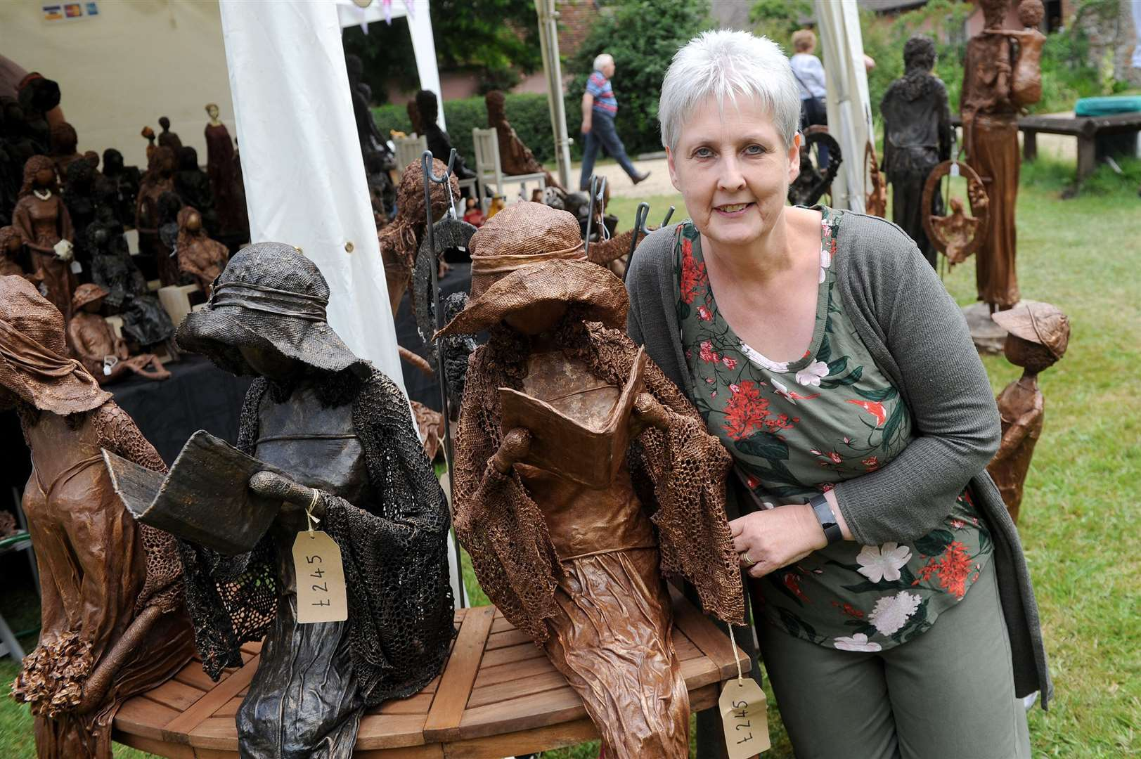 Clare Priory Craft Fair 2019..Pictured: Carole Wright with her sculptures 'Works in Materials'...PICTURE: Mecha Morton. (13785396)