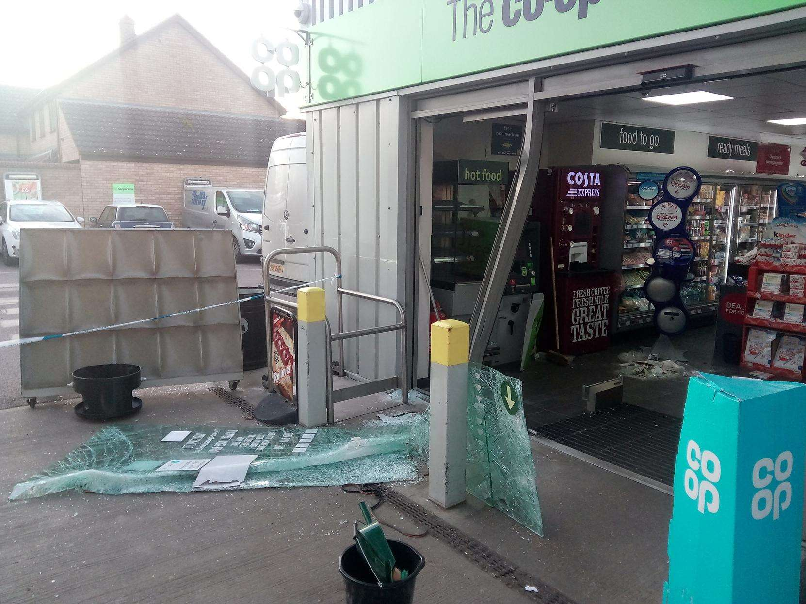 The Ness Road Co-op petrol station that was ram raided in the early hours of the morning