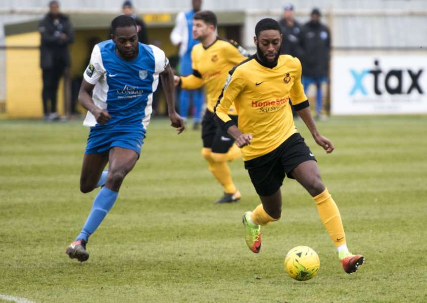 MISSED CHANCES: Andrew Ofosu spurned a couple of opportunities during Mildenhall's loss to Barking