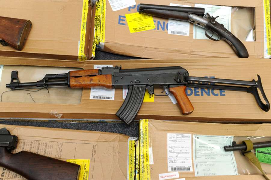 Suffolk Police held a media briefing on Operation Cannington ' the discovery of a weapons haul at Wyverstone in April 2014.''Pictured: AK47 ANL-160218-153341001