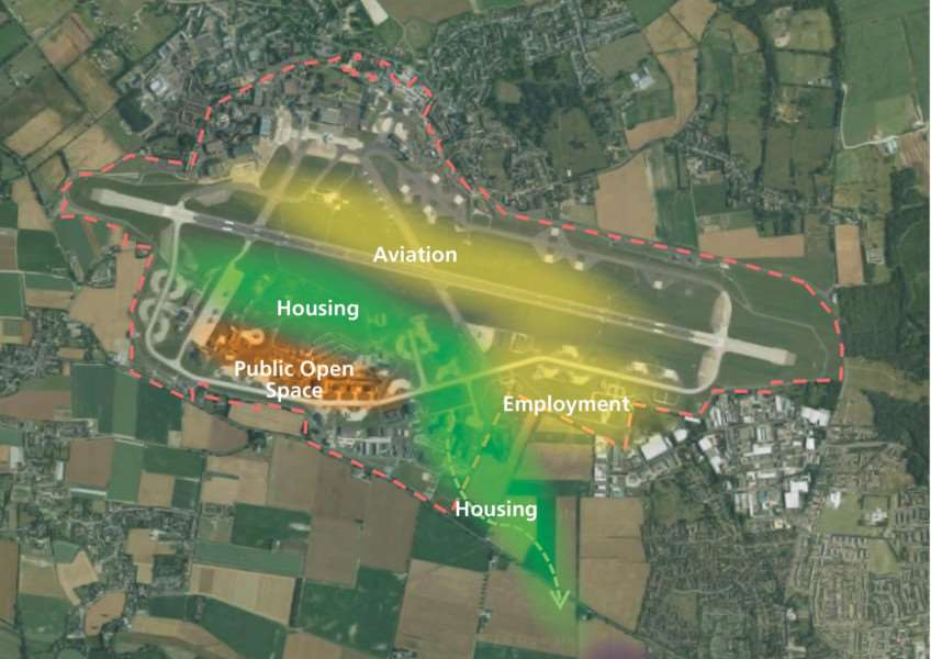 The proposed plan for RAF Mildenhall with the housing area coloured green. West Row is to the lower left of the base ANL-160921-140614001