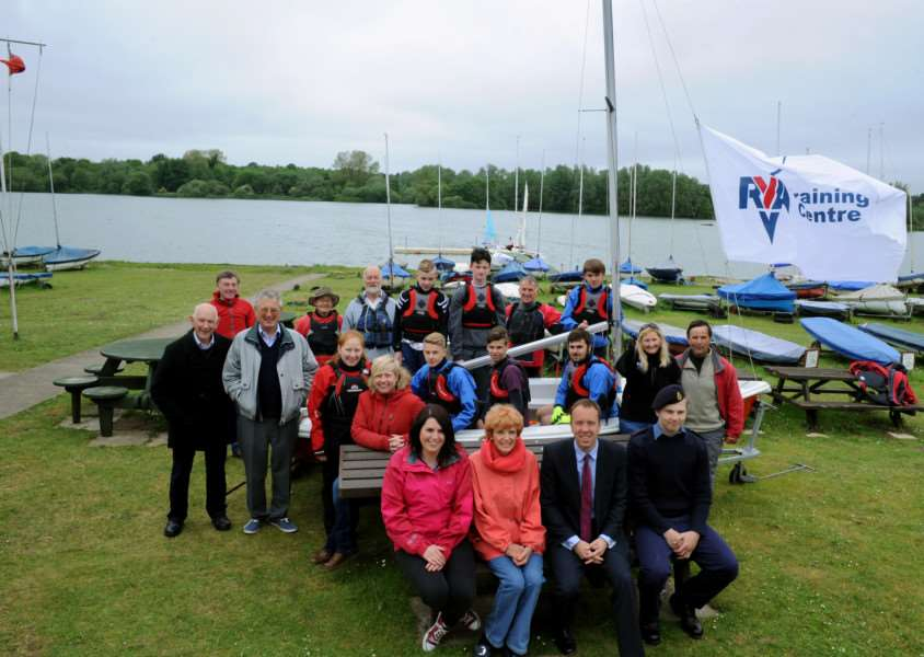 St Edmundsbury Borough Councillor Susan Glossop and West Suffolk MP Matthew Hancock with St Edmundsbury Sailing and Canoeing Association at Lackford Lakes ANL-160307-095049001