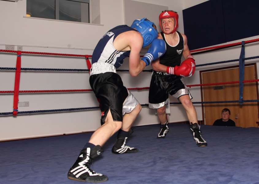FIGHTING BACK: Jasper Boydell goes on the attack in his unanimous points victory over Tommie Smith