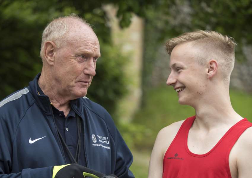 WINNING TEAM: Mick Graham with his star pupil Callum Wilkinson, who he helped end a 52-year wait for a British world race-walk medal in July