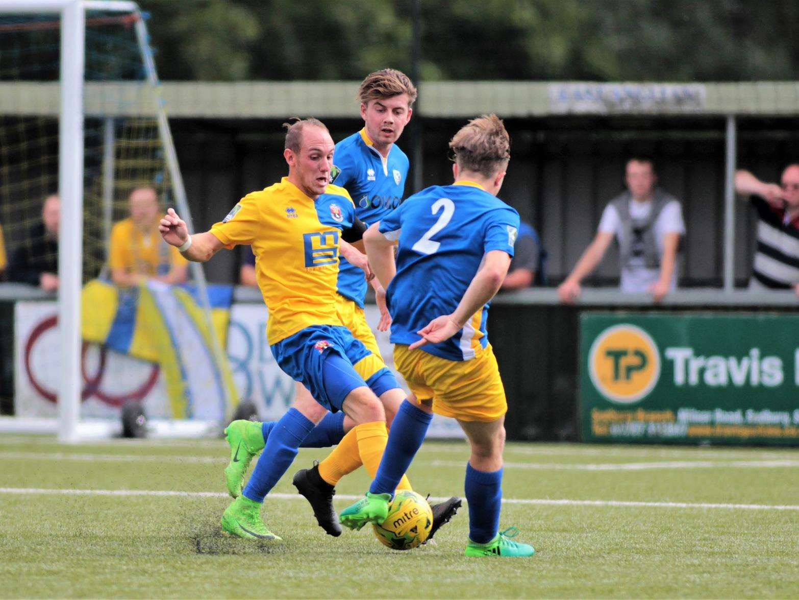 SHOWING THE PASSION: New signing Adam Mills netted for AFC Sudbury in a 1-1 draw as the team target just 'a good season' following demotion disappointment last year