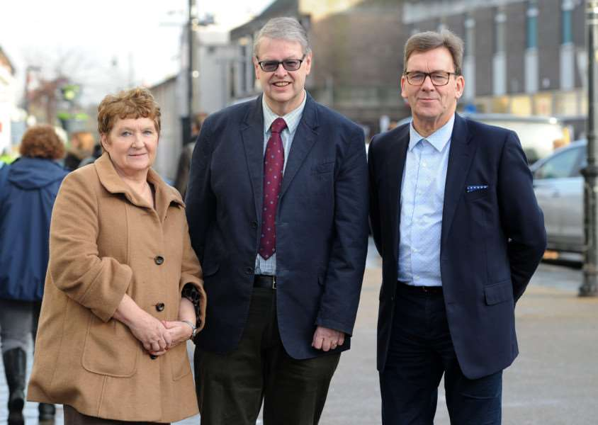 Sudbury Fire Trust was set up to appoint monies to those affected by the fire in the town Pictured: Sue Ayres (Mayor and Treasurer of the Trust), Tim Ayrton (Chairman of the Trust( and David Holland (Trustee Member) ANL-160501-121639009