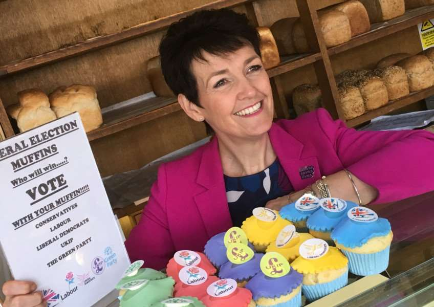 Bury MP Jo Churchill took a break from canvassing last week when she popped into Palmers Bakery of Haughley to purchase an election muffin