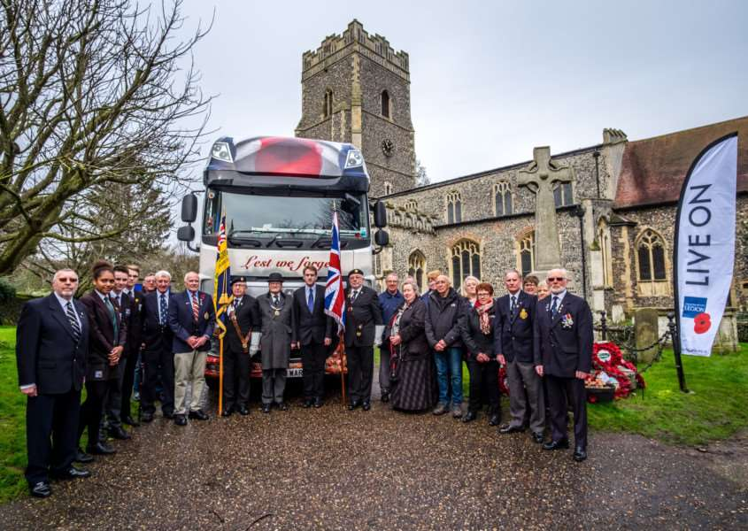 Members of Ixworth Royal British Legion with the RBL Poppy Truck