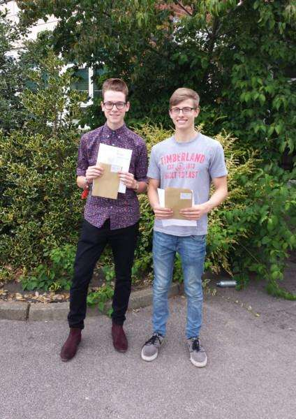 Childhood friends Harry Hogg and Sam Russell from Stowmarket High School collect their A Level results ANL-150813-131256001