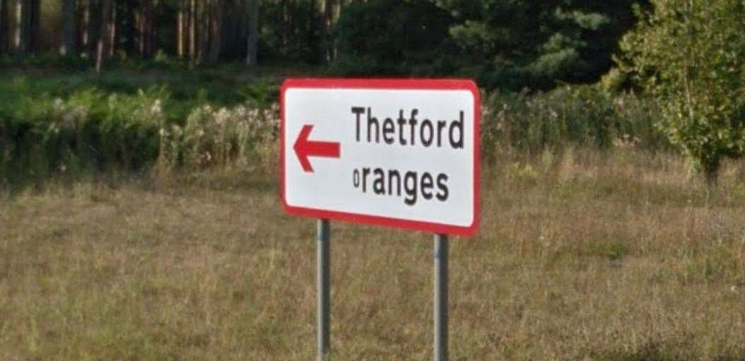 The 'Thetford Oranges' sign on the A11 Picture from Google Maps