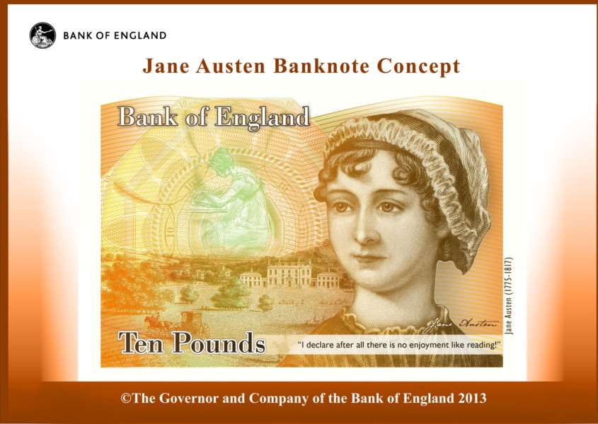 Undated handout photo issued by the Bank of England of a ten pound note featuring Jane Austen. ENGEMN00120130724165031
