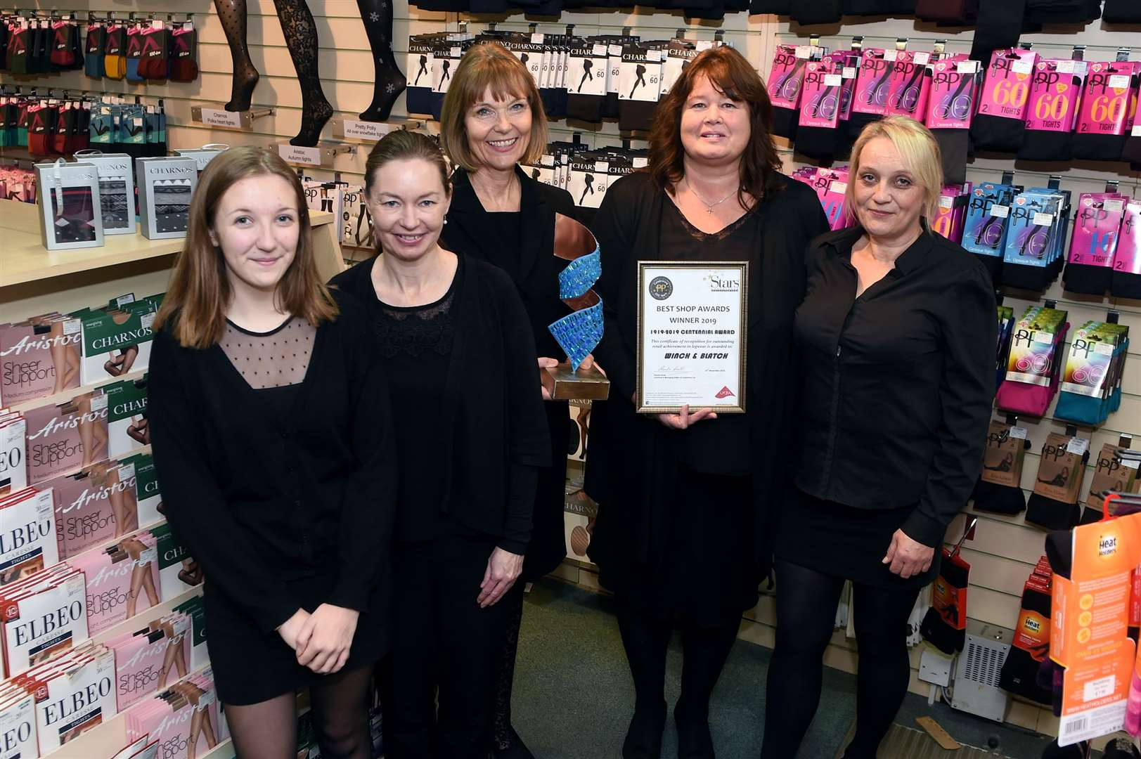 Winch & Blatch department store has recently won a Pretty Polly Centennial Award..Pictured: Tilly Mace (Sales Assistant), Tracy Welsh (Assistant Store Manager), Judith Blatch, Hazel Barnard (Buyer) and Sharon Game (Cafe Manager)....PICTURE: Mecha Morton .... (22635371)