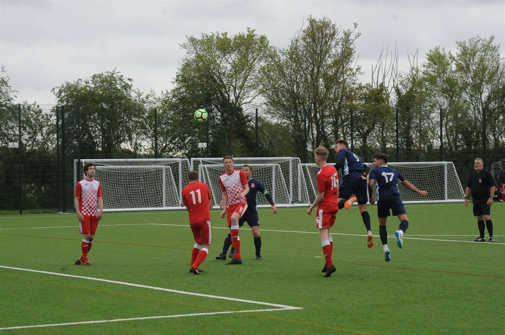 Football: Suffolk Sunday Trophy Final.. Lavenham score the first goal of the game.. ..Photographer Ben Pooley. (9302511)