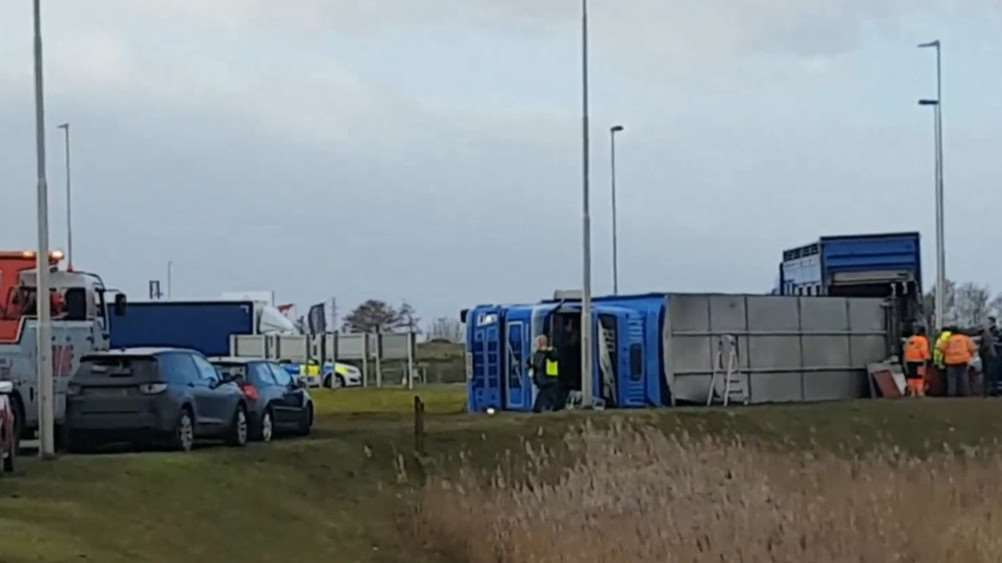The scene on the A16 today. PHOTO: SWNS